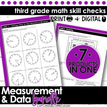 third grade math skill checks measurement and data by cupcakes n curriculum. Black Bedroom Furniture Sets. Home Design Ideas