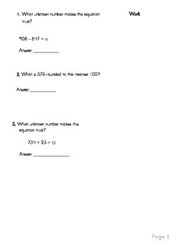 3rd Grade Math Common Core Review Book 1