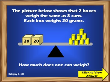 3rd Grade Math Common Core Review Jeopardy PowerPoint Game (Version 3)