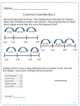 3rd Grade Math Common Core Review - Set 3
