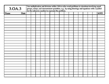 3rd Grade Math Common Core Standard Track Sheets