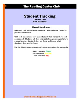 3rd Grade Math Common Core Standards Student Tracking