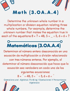 3rd Grade Math Common Core Standards in English & Spanish (Flyer Format)