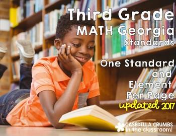 3rd Grade Math Common Core Standards one per page