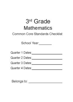 3rd Grade Math Common Core State Standards Checklist Part 1