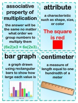 3rd Grade Math Common Core Vocabulary Flash Cards Terms
