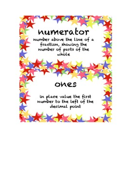3rd Grade Math Common Core Vocabulary Word Cards