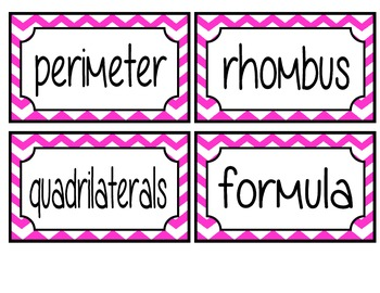 3rd Grade Math Common Core Vocabulary Word Wall