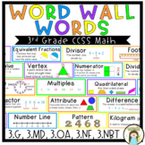 3rd Grade Math CC Word Wall Vocabulary Cards