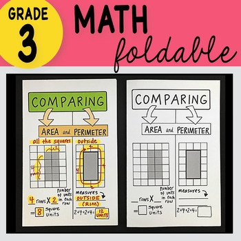 Doodle Notes - 3rd Grade Math Comparing Area and Perimeter Foldable