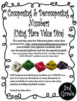 3rd Grade Math: Composing and Decomposing Numbers (Using Place Value Dice)