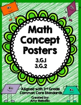 3rd Grade Math Concept Posters Geometry 3.G.1 3.G.2 Quadrilaterals Partitioning