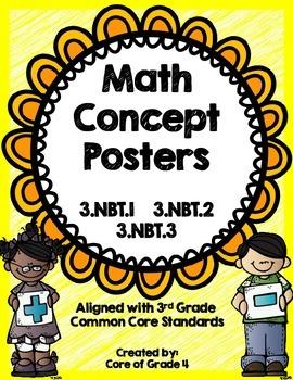 3rd Grade Math Concept Posters Number Operation 3.NBT.1 3.NBT.2 3.NBT.3 Base Ten
