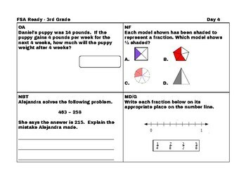 3rd Grade Math: Countdown to FSA Part 2: 20 more days