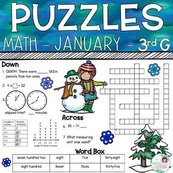 3rd Grade Math Crossword Puzzles - January