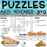 3rd Grade Math Crossword Puzzles - November