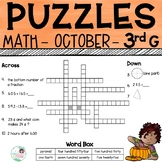 3rd Grade Math Crossword Puzzles - October
