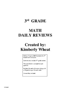 3rd Grade Math Daily Review Booklet