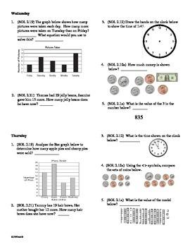 3rd Grade Math Daily Review Week 1