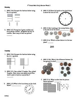 3rd Grade Math Daily Review Week 2