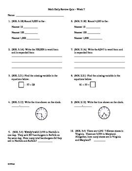 3rd Grade Math Daily Review Week 7