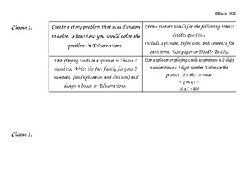 3rd Grade Math Differentiated Learning Menus