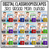 3rd Grade Math Digital Escape Room BUNDLE | YEARLONG | Spiral Review and More!