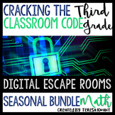 3rd Grade Seasonal Math Digital Escape Room Bundle Distance Learning