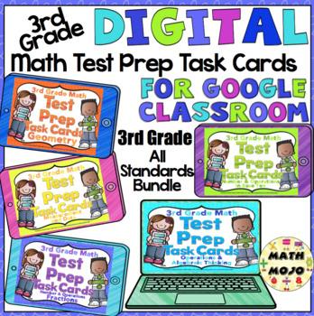 3rd Grade Math Digital Task Cards: 3rd Grade Math Test Prep Math Bundle