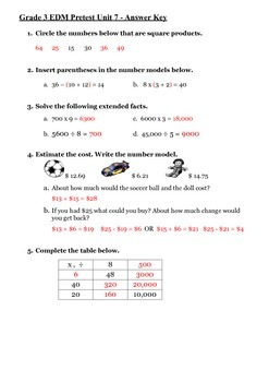 Everyday Math 3rd Grade Unit 7 Pretest