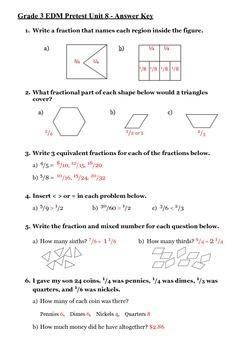 Everyday Math 3rd Grade Unit 8 Pretest