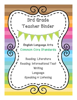 3rd Grade Math & ELA Binder Covers - Bundle Pack