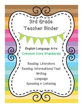 3rd Grade Math & ELA Binder Covers - Bundle Pack