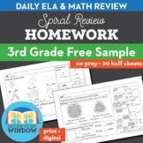 3rd Grade Math & ELA Homework Free 2 Week Sample