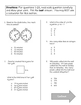 3rd Grade Math EOG Practice End of Year Test
