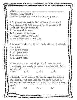 3rd Grade Math Ohio Test Prep Assessment #1