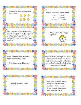 3rd Grade Math Easter Egg Hunt Test Review