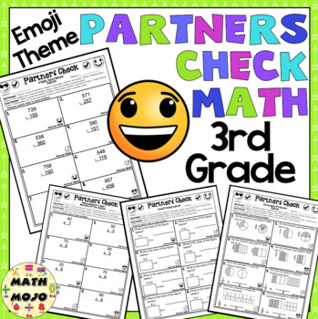 3rd Grade Math: Emoji Theme Partners Check