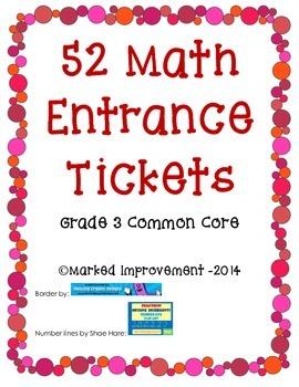 3rd Grade Math Entrance/Exit Tickets