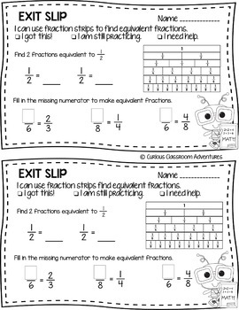 3rd Grade Math Exit Slips #13- Fraction Equivalence and Comparison