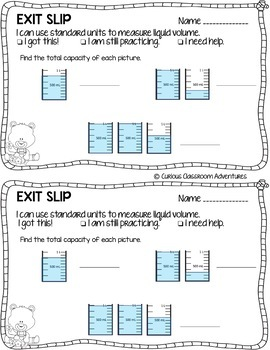 3rd Grade Math Exit Slips #14- Time, Capacity, and Mass