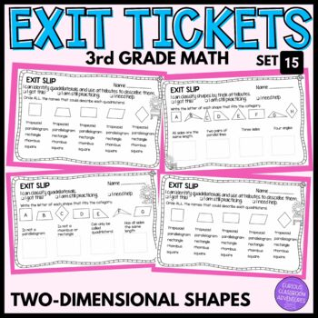 3rd Grade Math Exit Slips #15 - Two Dimensional Shapes