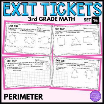 3rd Grade Math Exit Slips #16 - Perimeter