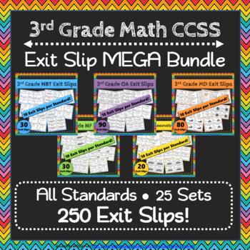 3rd Grade Math Exit Slips MEGA Bundle