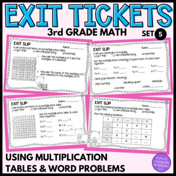 3rd Grade Math Exit Slips #5-Using Tables and Strategies to Multiply and Divide