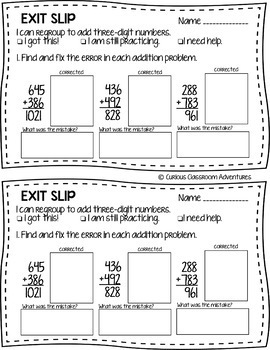 3rd Grade Math Exit Slips #9 - I can add and subtract numbers through 1,000