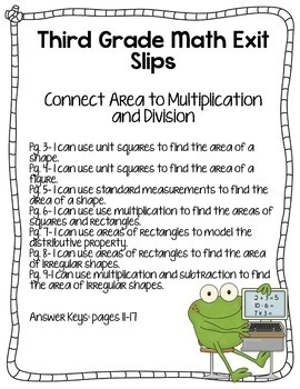 3rd Grade Math Exit Slips #6 - I Can Use Multiplication to Find Area