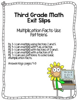 3rd grade math exit slips 2 i can use patterns for multiplication facts. Black Bedroom Furniture Sets. Home Design Ideas