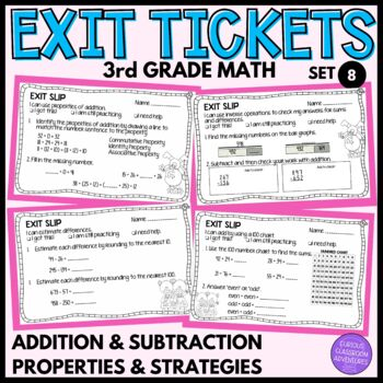 3rd Grade Math Exit Slips #8 - I Can Use Properties to Add and Subtract