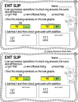3rd Grade Math Exit Slips 8 I Can Use Properties To Add And Subtract